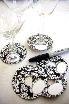 Wine glass tags from scrapbook paper and a sticker for the name tag :)