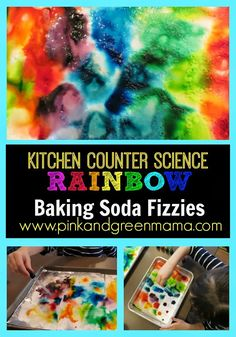 craft, rainbow bake, color science for kids, bake soda, science with kids, kitchen counter