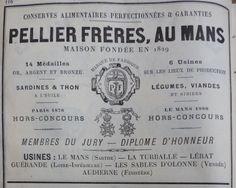 Le Mans. Publicité Pellier frères, sardines et thon, légumes, viandes. 1882.