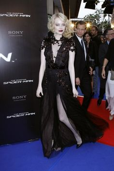 in gucci at the paris premiere of spider man