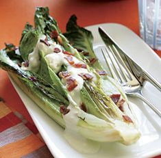 Grilled Hearts of Romaine with Blue Cheese Dressing