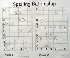 Spelling Battleship: 2 player game.  Each player inserts his word list in spaces going across (one letter per box). Players take turns guessing coordinates. If they miss, they mark it on their board. If they hit a letter, they keep guessing until they miss. If they sink a word, the player marks it off of his list. The goal of the game is to sink all of your opponent's words.""
