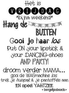 Vrijdag bijna weekend, Friday weekend is coming by BengeltjesBeads