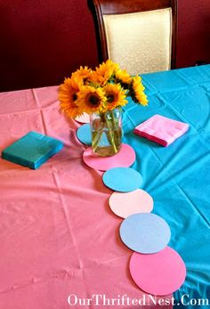 Gender Reveal Party: Pink and Blue Table Decorations
