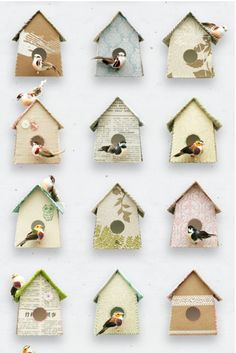 Wallpaper de casitas de pájaro en distintos diseños.