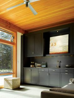 wood and black...nice combo of colour & styles.