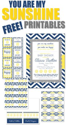 free YOU ARE MY SUNSHINE party PRINTABLES