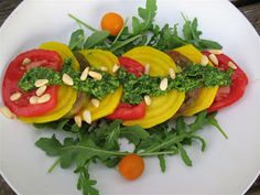 Albion Cooks: Heirloom Tomato and Golden Beet Salad with Arugula Pesto