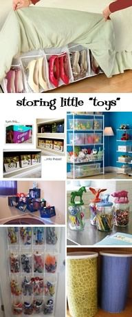 collection of ideas for storing small toys with little parts, great toy storage ideas & organization  The shoes along the bed is so smart!! Make the pockets bigger and you have a place for something awesome!! To the drawing boards Madam Cutting!!