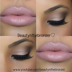 Perfect neutral eye and soft, pink lips.