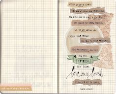 love how this artist uses a variety of ways to get the words on the grid paper.