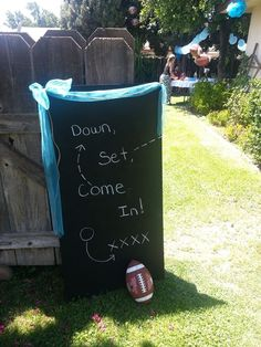 Welcome sign for football themed baby shower