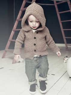 I know they're barely a year old, but this is the style I love for my boys. Knit-Kit: Baby-hoodie from Urban Wool