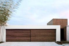 Entrance + Wood houses, architectur, garag door, garages, garage doors, white wall, design, wood doors, sliding doors