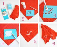 """monogrammed"" cloth napkins"