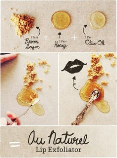 DIY All Natural Lip Exfoliate do this for soft lips! Easy and all ingredients should be in your kitchen cupboard!