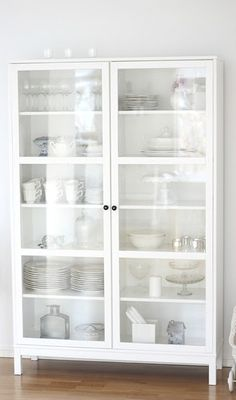 dining rooms, interior design, glass doors, cleanses, china cabinets, kitchen, white interiors, storage white dishes, white cabinets