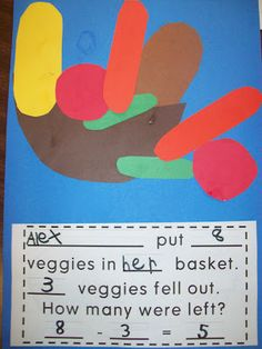 Cutting veggies to make this subtraction story problem...cute.