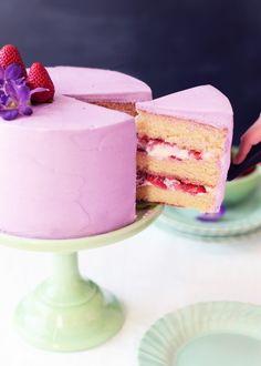 lavender and strawberry buttermilk cake