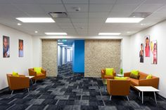 Houston Food Bank case study -  Carpet plays an important role in the aesthetics of an interior – but it was also important for the Houston Food Bank team to follow LEED and sustainability standards very closely. (Milliken's Sound and Fury collection featured.)