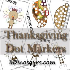 Free Thanksgiving Dot Marker Pages - 21 pages - 3Dinosaurs.com
