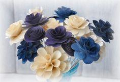 Wood Flowers - Blue Purple Ivory