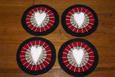 primitive rustic Valentine wool penny rug by thecraftyfarmhouse