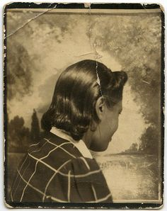 ** Vintage Photo Booth Picture **   Perhaps a little shy or just wanting to show off her fancy new do.