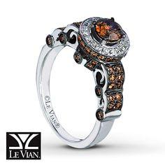 LeVian Chocolate Diamonds 1 1/5 ct tw Ring 14K Vanilla Gold