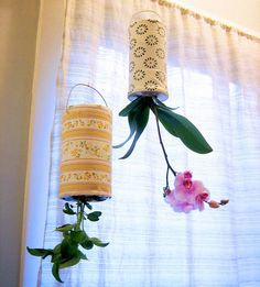Upside Down Planter: DIY with recycled cans or plastic pop bottle.s