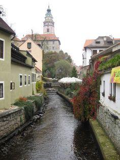 River view of castle in charming Cesky Krumlov.