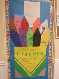 """We read the Crayon Box that Talked and I drew the picture as we read the story so my preschoolers could really see how each color worked together to make one beautiful picture. Then they each got their own giant """"crayon"""" to decorate and put in our classroom box."""