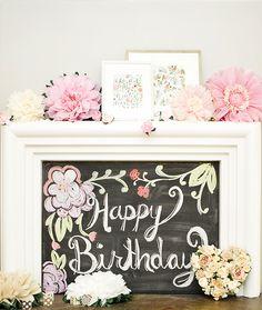 botan parti, chalkboard paint, chalkboard art, birthday party botanical, babi, botanical birthday, 1st birthdays, kid birthday parties, birthday decorations