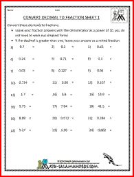 changing decimal to fraction worksheet