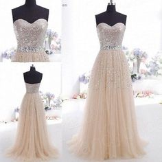 Champagne Prom Dresses Long Evening Party Formal Gowns Size 4+6+8+10+12+14+16