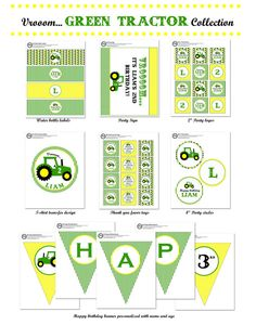 Green Tractor Birthday Party cupcake toppers and by 2birdstudios, $6.00