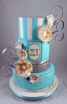Tiffany blue, White and Silver Sequin 21st Cake - by littleacrecakemaker @ CakesDecor.com - cake decorating website