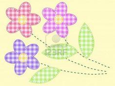 flores de bordado de tela a cuadros  Foto de archivo