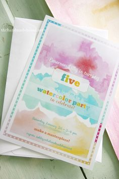 Pretty watercolor invites