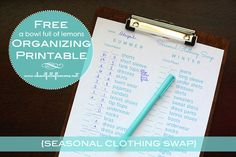 "Its time to swap out your summer clothes for fall.  Great tips on this ""Seasonal clothing swap"" blog post... comes with a FREE printable via A Bowl Full of Lemons"