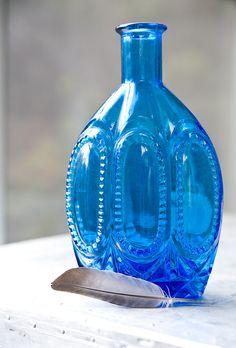 Vintage Bottle Blue Glass 1960s blue vintag, vintage bottles, blue glass, bottl blue, blue green, vintag bottl, vintag blue, glass bottl, blues
