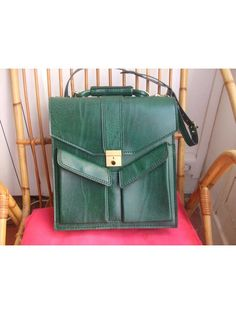 1960 green faux leather messenger bag by lesclodettes on Etsy, $65.00