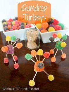 Thanksgiving Crafts for Kids - Gumdrop Turkeys - eventstocelebrate.net