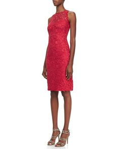 Sleeveless Lace Cocktail Dress, French Rose by Tadashi Shoji at Neiman Marcus.