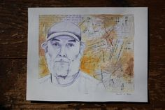 Appalachian Trail Hiker Portrait Original Mixed Media Painting