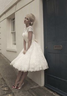 New White Ivory Lace Tea-Length Vintage Wedding Dress Bridal dress Size 2-16 #