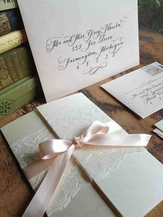 """Calligraphy Wedding Invitation Gatefold with vintage lace and ribbon by Designs by Robyn Love, Love No.3 """"Pemberly"""""""