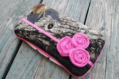 Mossy Oak Camo with Hot Pink Rolled Flowers by LauraLeeDesigns108