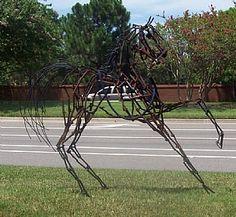 Railroad spike sculpture