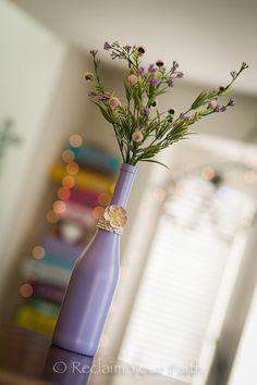 Lavender Painted Wine Bottle